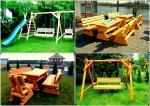 Meble ogrodowe, drewniane, barowe, huśtawki, stół, ławka, kr